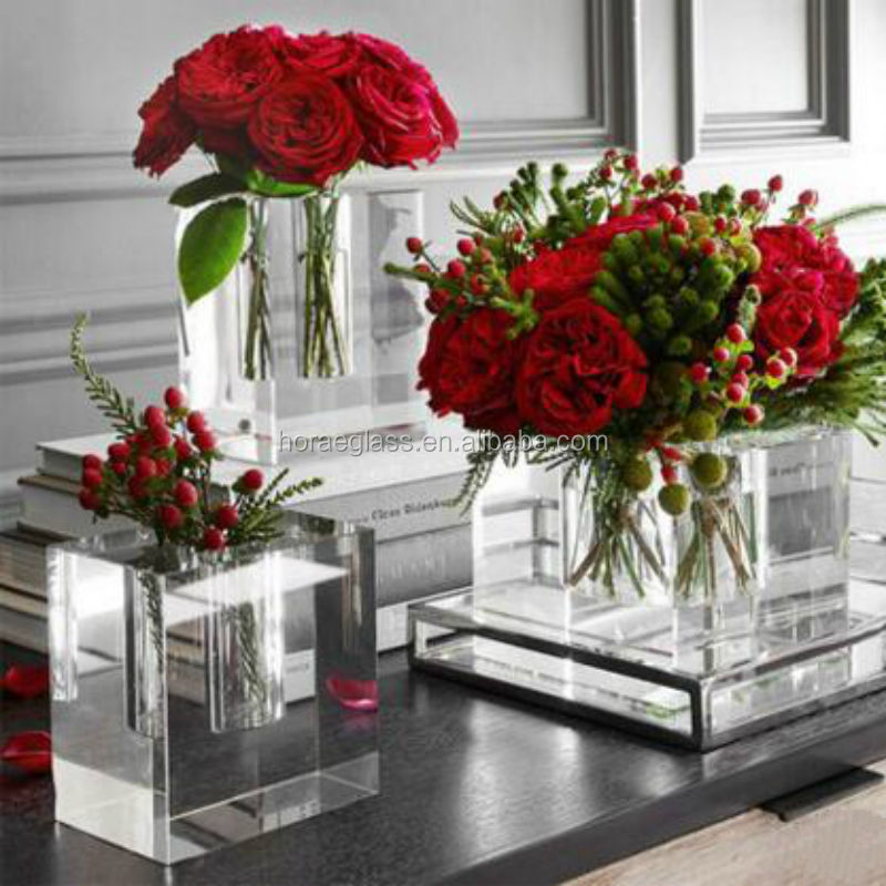 Square Thicken Glass Vase K9 Crystal Clear Glass Flower Vase 2017 Promotional