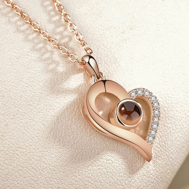 New Fashion Rose Gold Silver 100 Language I love You Necklace Memory Projection Pendant Wedding Letter I love You Necklace