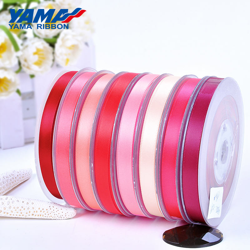 YAMA Factory Stocked Wholesale Polyester Single/Double Faced Pink Red Satin Ribbon