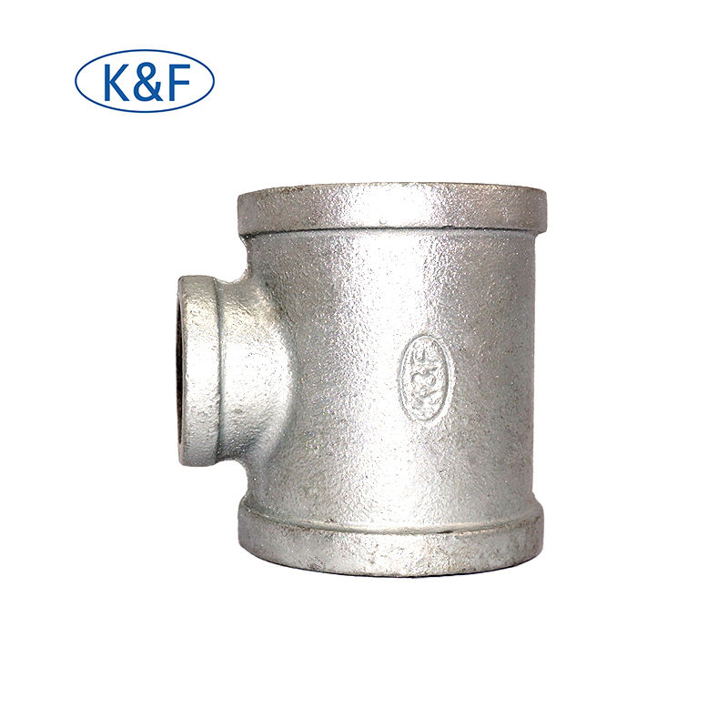 BSP threaded malleable iron fitting equal tee hydraulic black galvanized