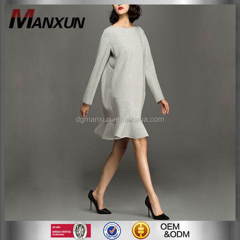 Womens clothing 2016 Advanced Apparel Grey Bulk American Apparel Elegant Rounded Curved Hem Dress