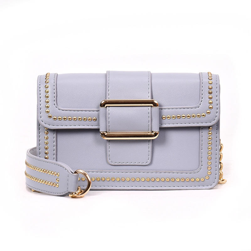 New Korean Fashion Simple Joker Mini Square Rivet Shoulder Bag