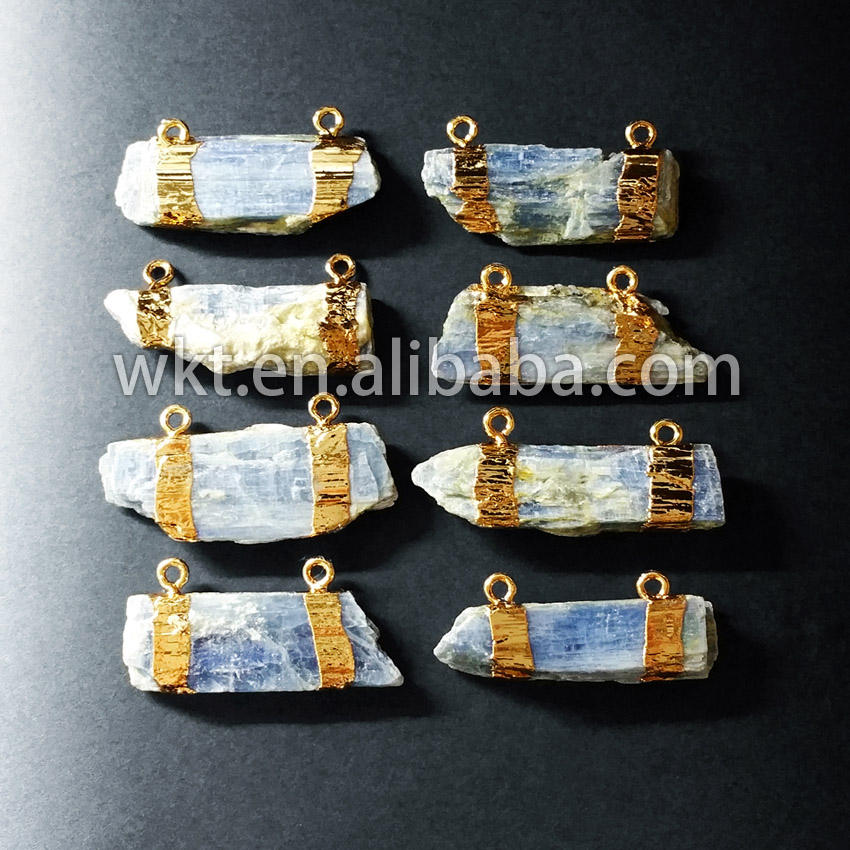 WT-P527 Rough blue kyanite double loops bail pendants, fashion gemstone gold dipped pendants