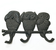Metal owl design wall mounted cast iron robe hooks for home decoration