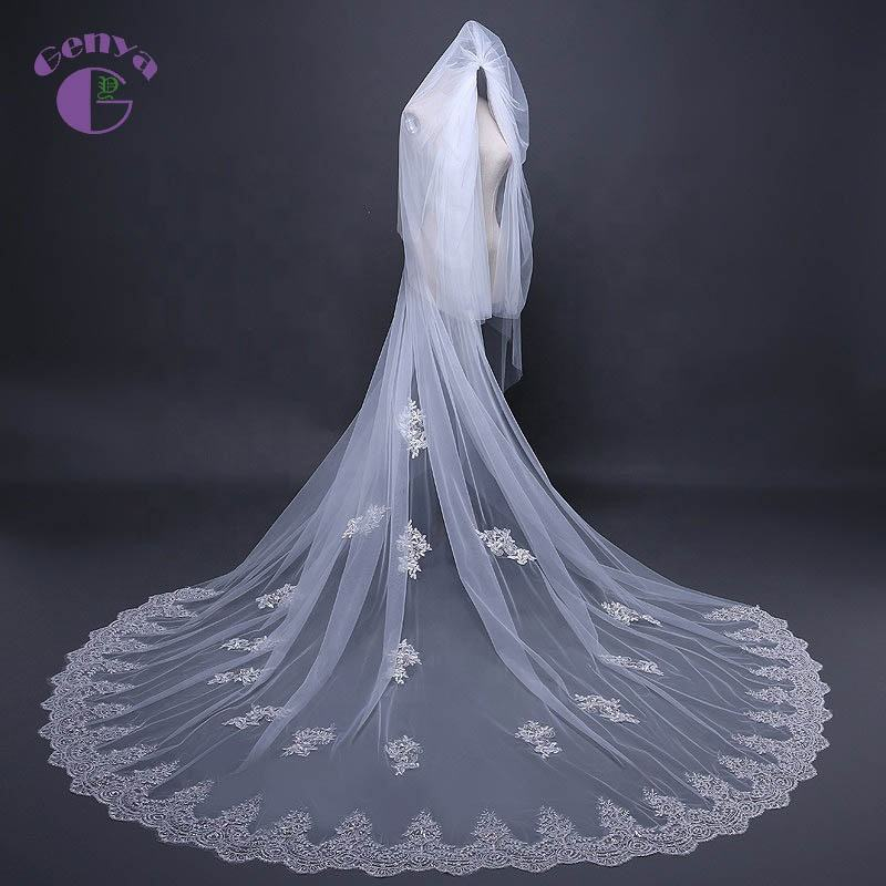 GENYA Soft Bridal Veil Wedding Veil Sequins Lace Long Bridal Veil with Comb