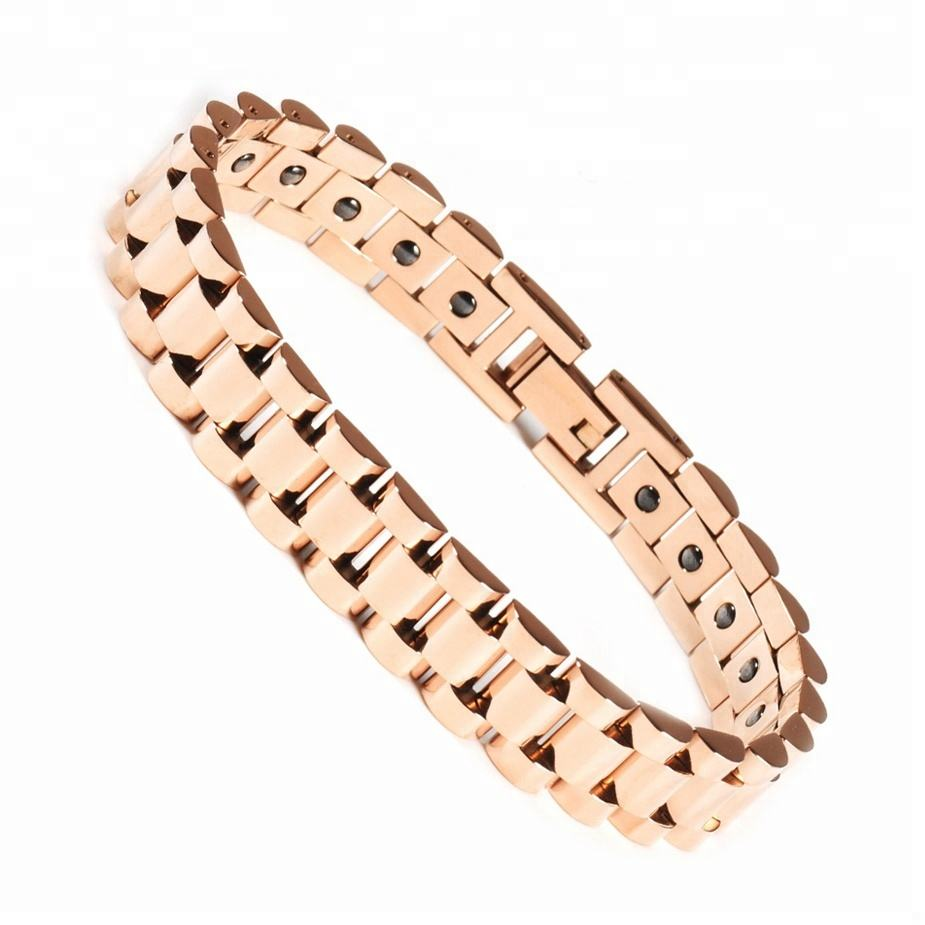 Wollet 보건부 (Health 반원 게르마늄이 포함되어 Bio Magnetic 금 Plated 316L Stainless Steel Bracelet 대 한 Men Women