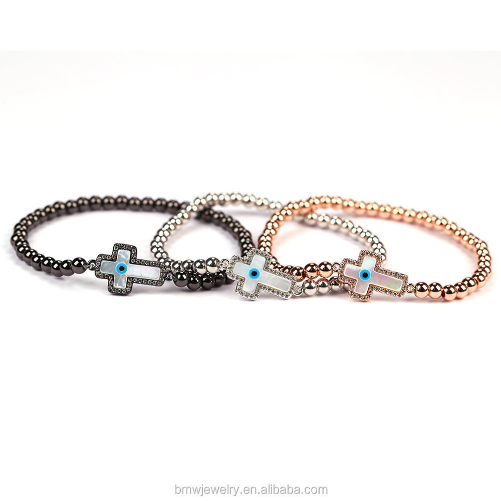 Fashionable Miro Pave CZ Cross Connector Round Beads Bracelets Braiding Macrame Bracelet