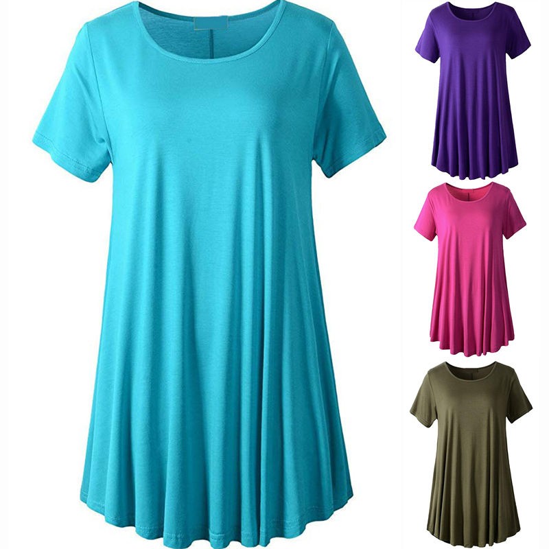 Loose Fit Swing Ladies Summer Tunic Tops For Women