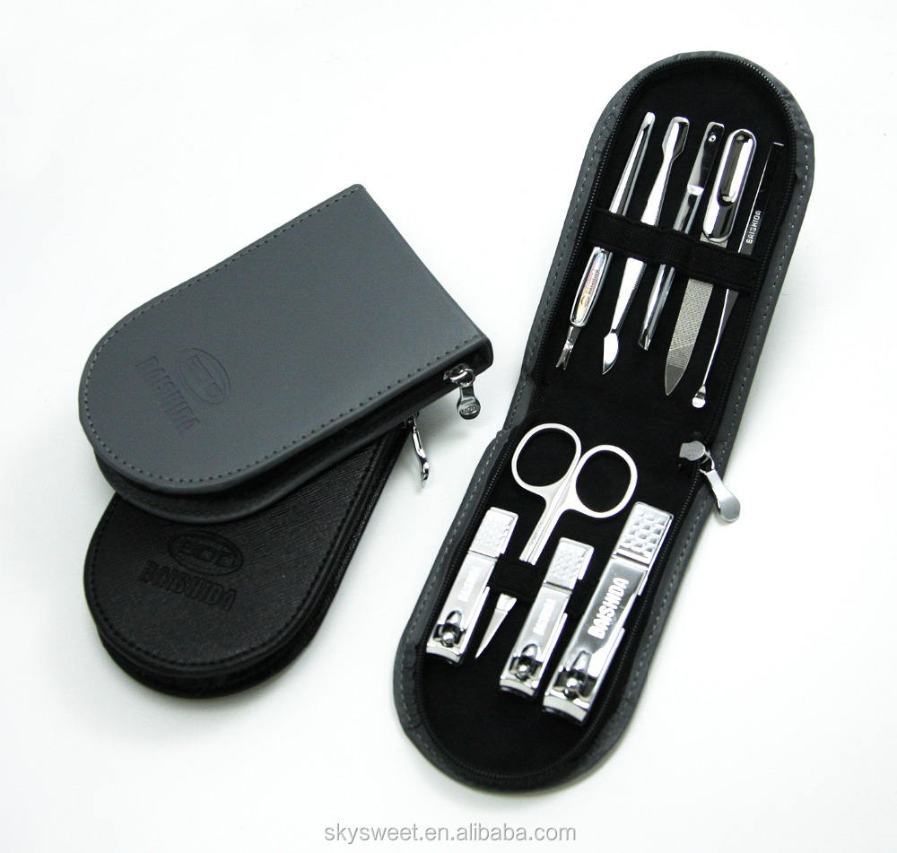 Business gift PU leather bag 9 pcs one set nail clipper(SWTJU1452)