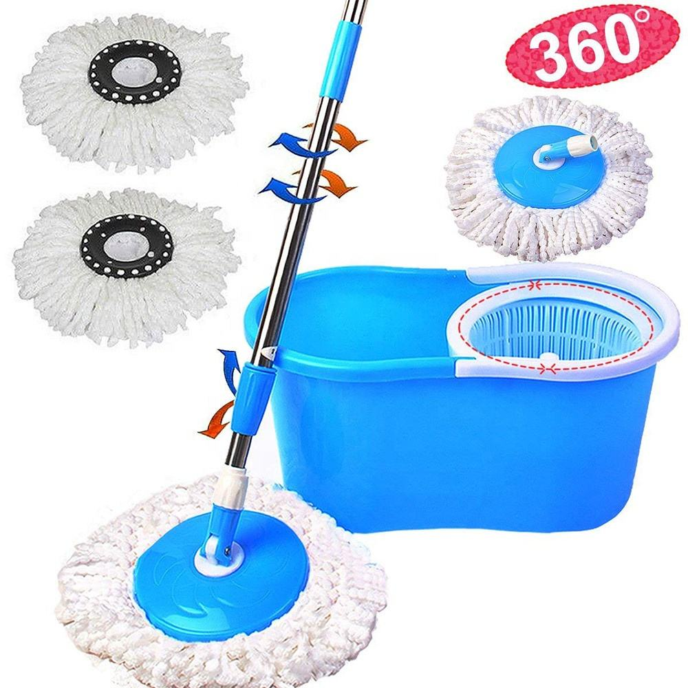 Spin Bucket System Extended Length Handle with 2 Microfiber Heads 360 Rotation Easy Floor Mop
