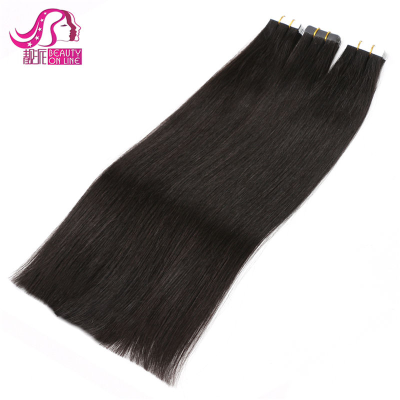 2015 Hot Wholesale 6A 100%Human Hair Double Tape Natural Straight 18&20