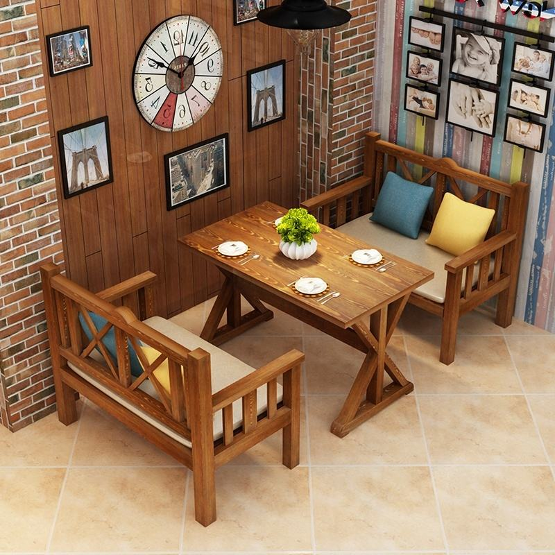 100% solid wood dining table restaurant table chairs bench