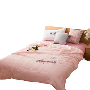 Simple pink quilting process washed cotton four-piece bedding set luxury bed sheet