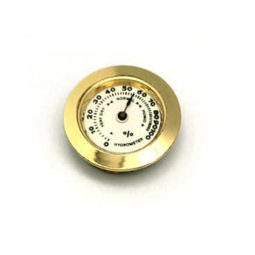 Humidor mini metal gold cigar hygrometer