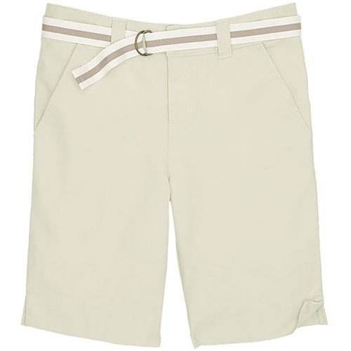 Belted Bermuda short Hits most girls mid-thigh Two front pockets two snap closure flap-top back pockets Zip fly button closure