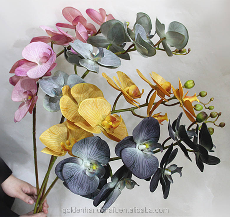 Factory latex artificial phalaenopsis orchids flower single stem