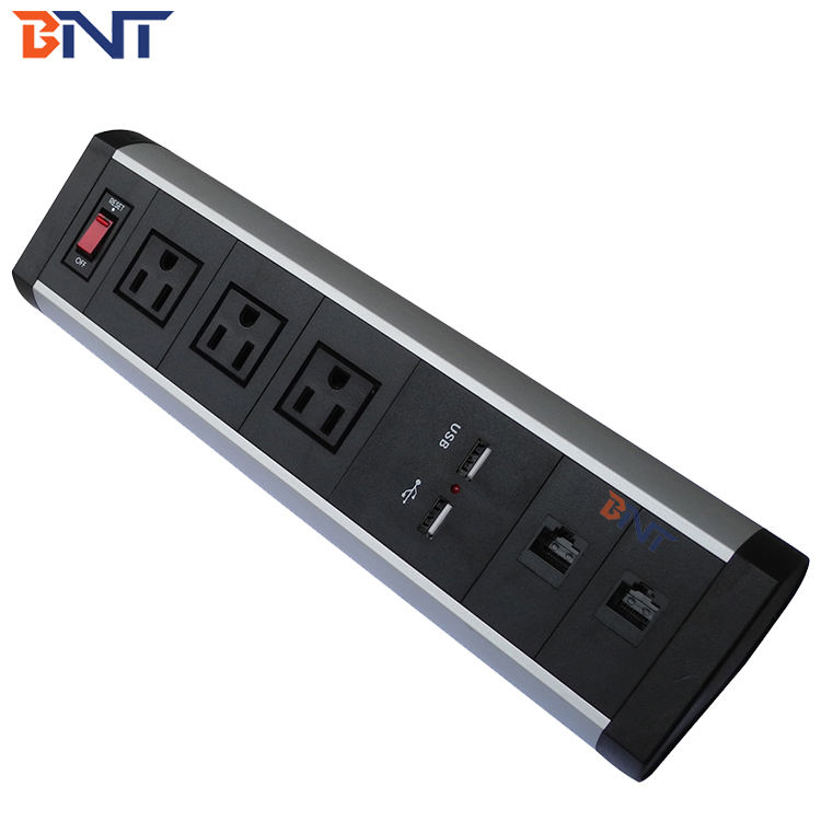 BNT Office Movable Table Socket Tower with US Standard Power and 2*USB charger