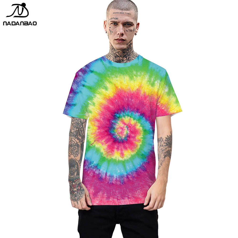 NADANBAO brand 2019 best selling fashion hip hot style design tie dyeing 3d color printed short sleeve round neck t-shirt
