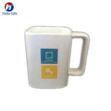 Creative square shaped milk cup custom printed office coffee mug