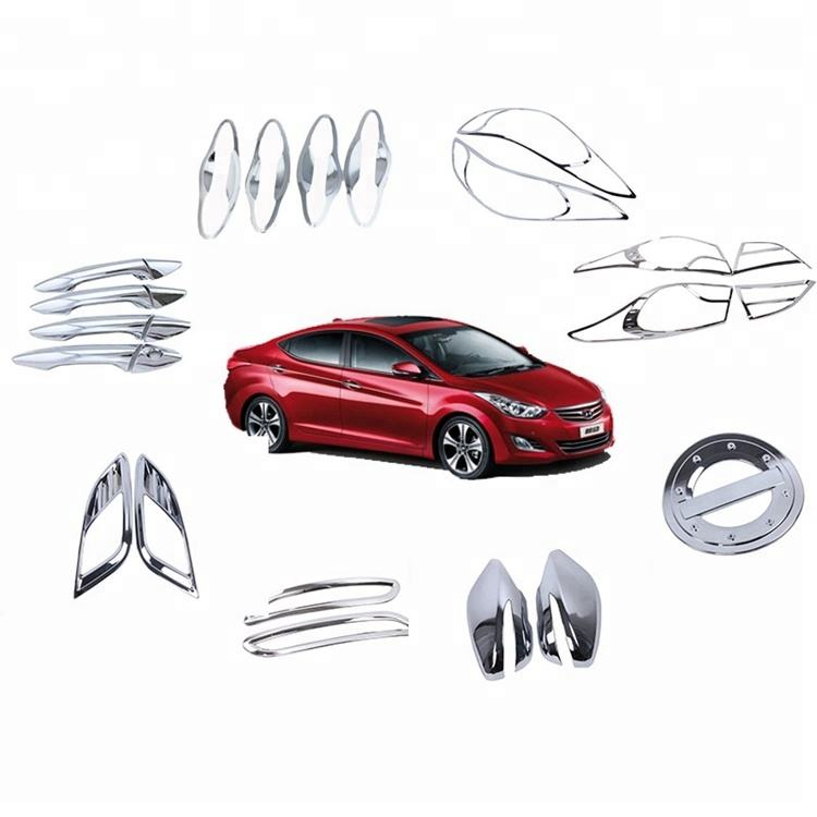 Chrome Exterior Moulding ABS Full Kits Set Lamp Handle Covers For HYUN-DAI ELANTRA AVANTE 2012 2013