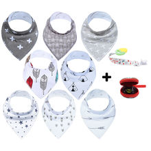 Adjustable 100% Organic Cotton 16-pack Absorbent baby bandana drool bibs, Baby Bibs Cotton