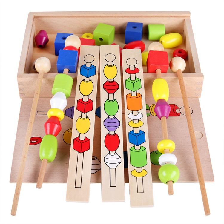 diy handmade children memory wooden games Puzzle beaded box intelligence toy wooden building block toy
