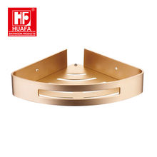 Luxury custom gold Single wall mount aluminum bathroom corner shelf for hotel
