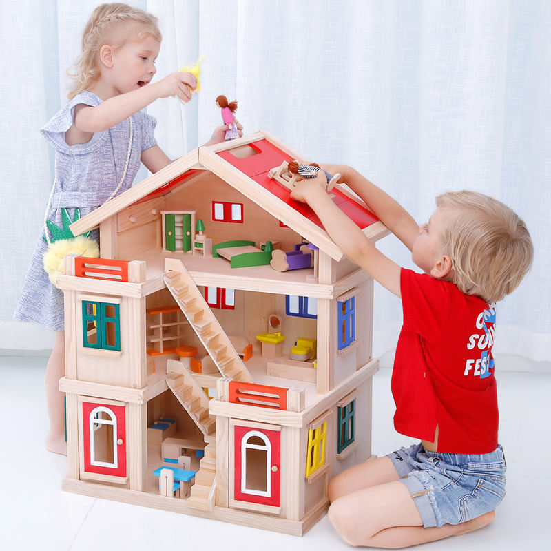 Onshine Happy family wooden toy DIY dollhouse with colorful dolls & furnitures children pretend play large doll house