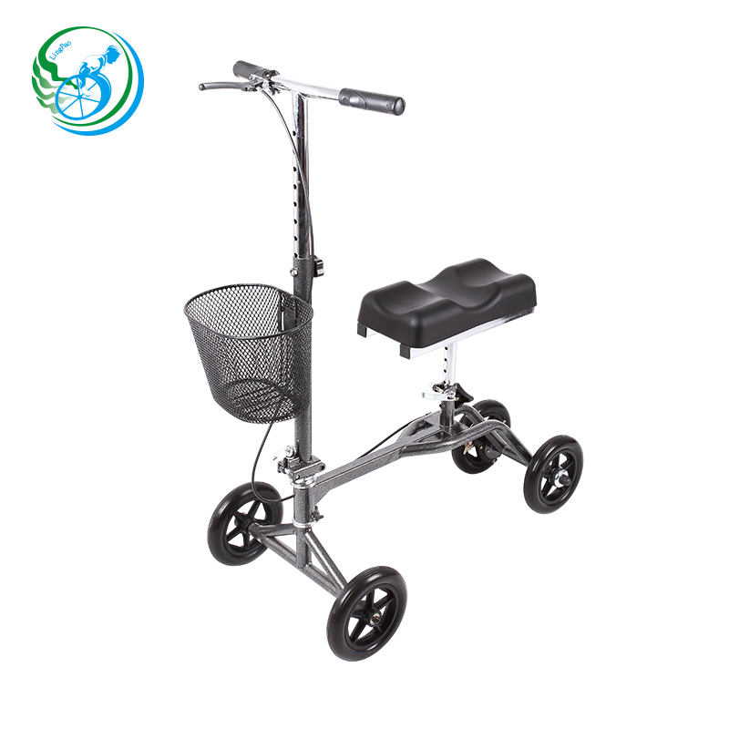 4 wheel steel foldable knee walker for adult