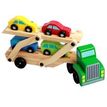 Truck Children Educational Toys Wooden Train Car Toy Double Deck Race Car Carrier Wooden Push Along Vehicle Kids Toy Car