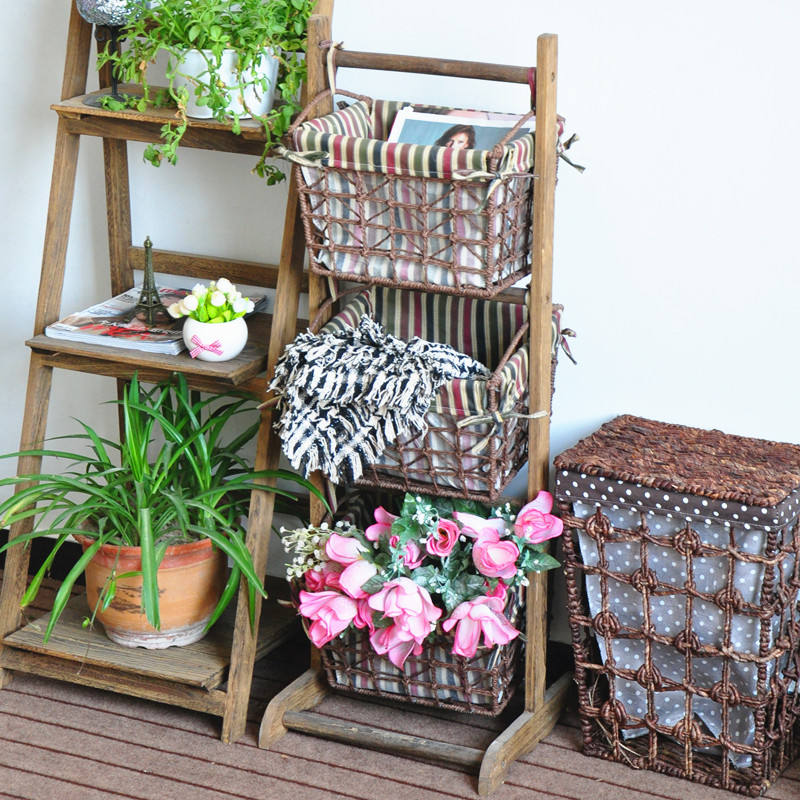 3 Tier Magazine Racks With Woven Hanging Baskets