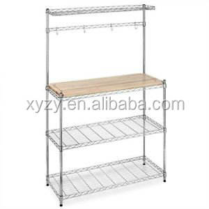 chrome bakers rack with cutting board and storage kitchen wire shelf