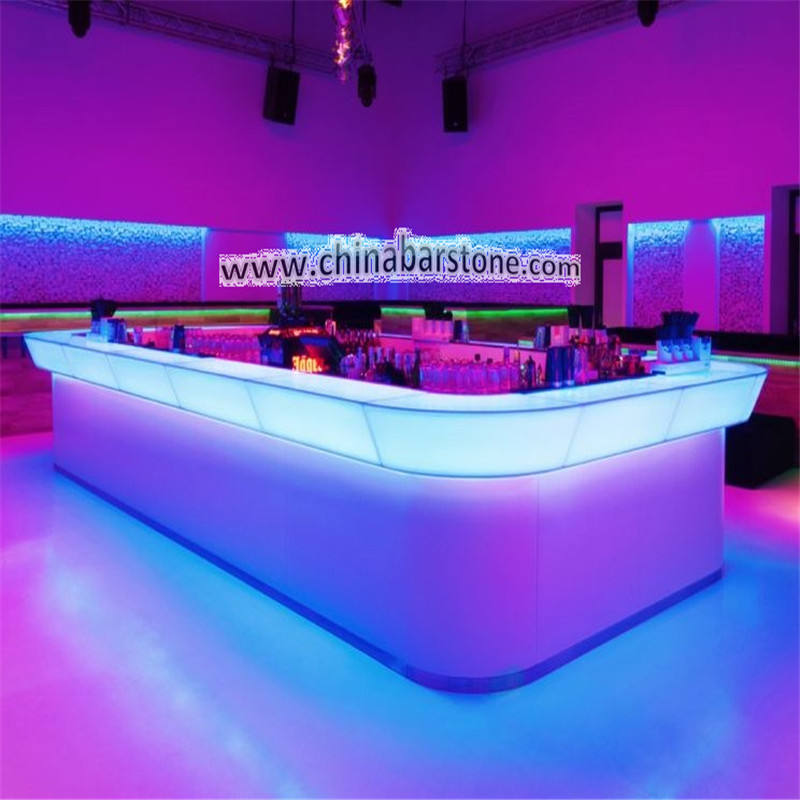 Modern round solid surface artificial stone nightclub led bar counter/bar furniture/cafe led bar table light up