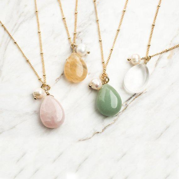 Dainty Rose Geometric Crystal Heal Necklace Raw Quartz Teardrop Necklace