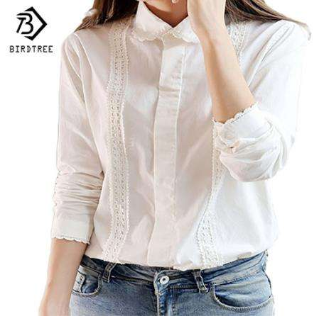White Blouse Women Work Wear Cotton Lace Embroidery Turn-Down Collar Long Sleeve Tops Shirt S-XXL Blusas Femininas T92405R