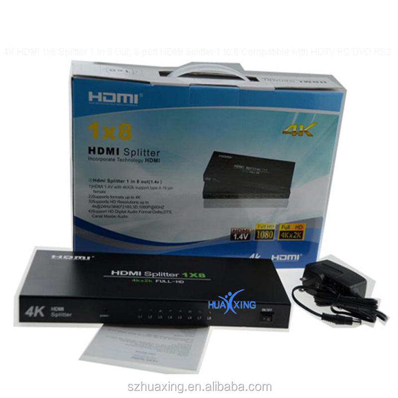 Professional Mini 1X8 HDMI Splitter Box V1.3 HDMI 1.3b 1080P 8 Ports Switch Splitter