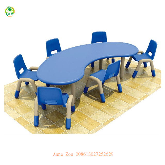 Preschool Furniture Sets Moon Table Colorful Kids Plastic Table and Chiars for Kindergarten QX-193F