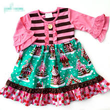 Christmas Gingerbread Lane Holiday dress Winter boutique girl's dress gingerbread hot sale ruffle tunic frocks