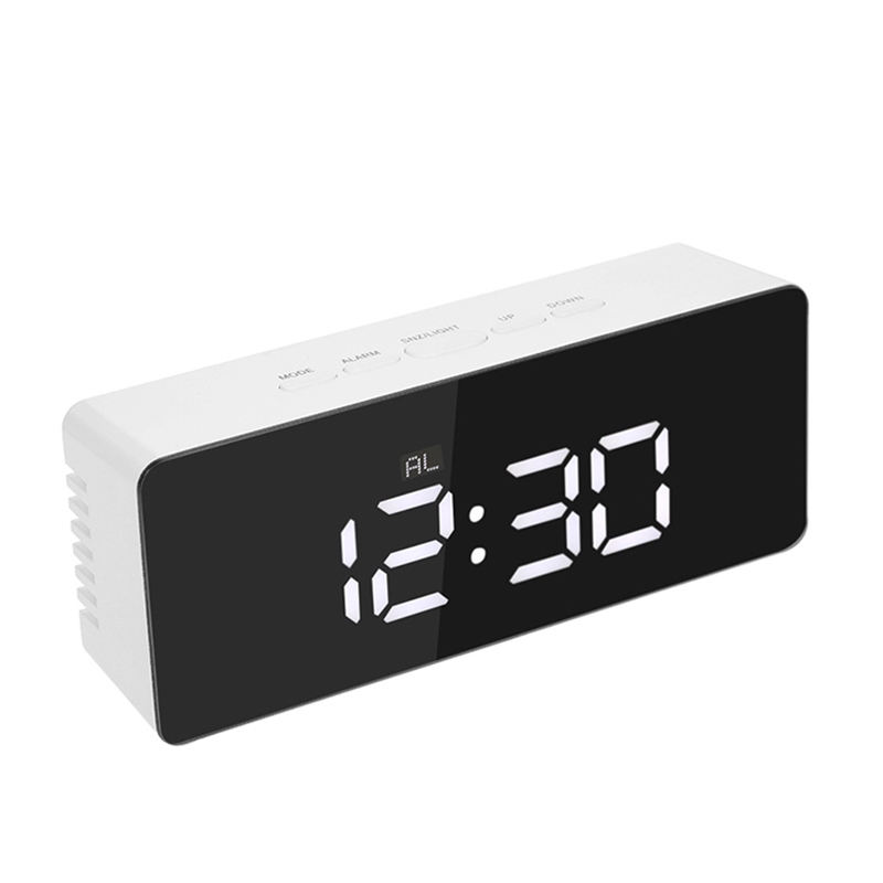 Zogift New Fashionable Multifunction Digital Electronic Temperature Desk Mirror LED Alarm Clock With Snooze Function