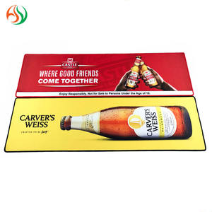 AY Wine Accessories Custom Rubber Bar Runner Beer Mat Bordered Non Woven Felt Nitrile Barmats With Logo Printing