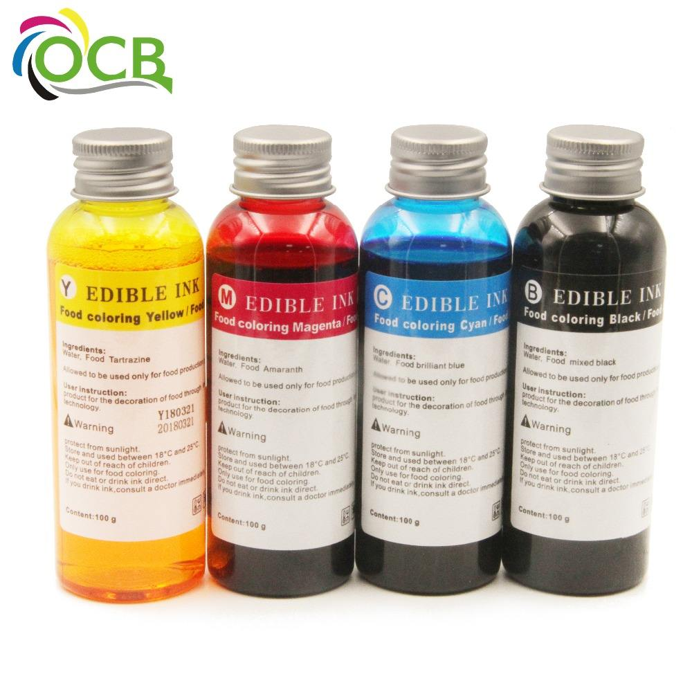Ocbestjet 100ML/Bottle 4 Colors Refill Edible Ink For HP 803 Coffee Cake Printer