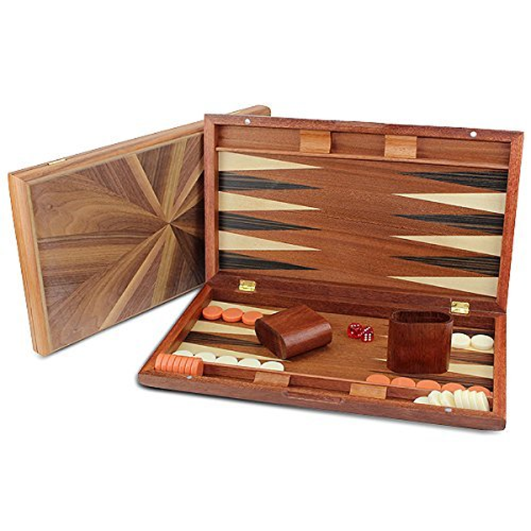 Wholesale customized antique engraved wooden luxury cloth backgammon game set made in china
