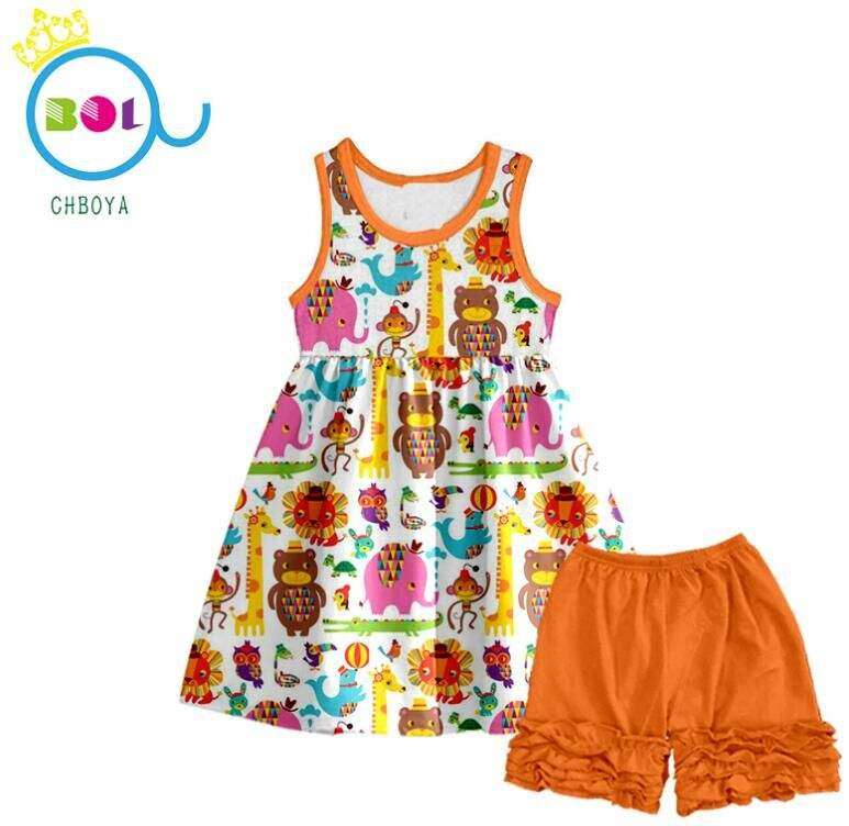 2019boutique outfit wholesale lovey animal 2-16 years daily life summer kids clothes