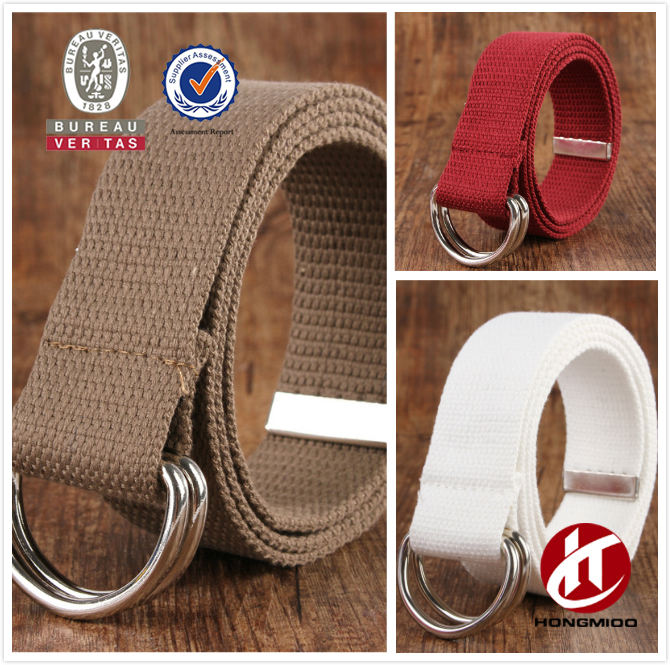 Double D-Ring Buckle Canvas Webbing Fabric Belt