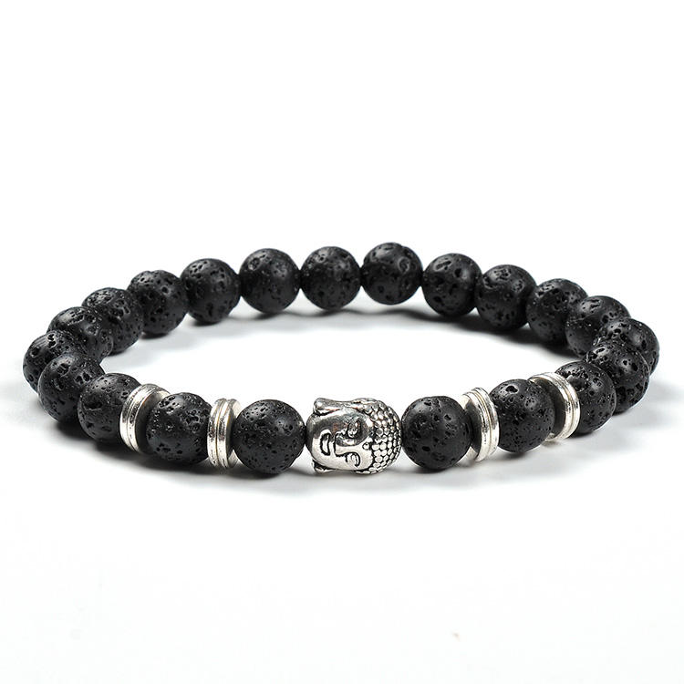 F100 New arrival lava stone beads scriptures prayer beads hematite zinc alloy buddha heads bracelet