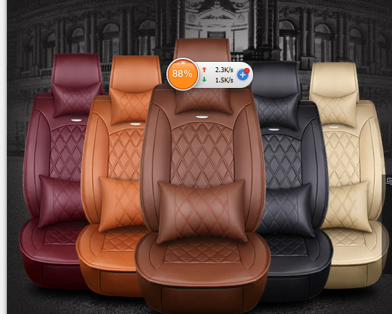 Fly5D From US Car Seat Cover Size L PU Leather 5-Seats Front &