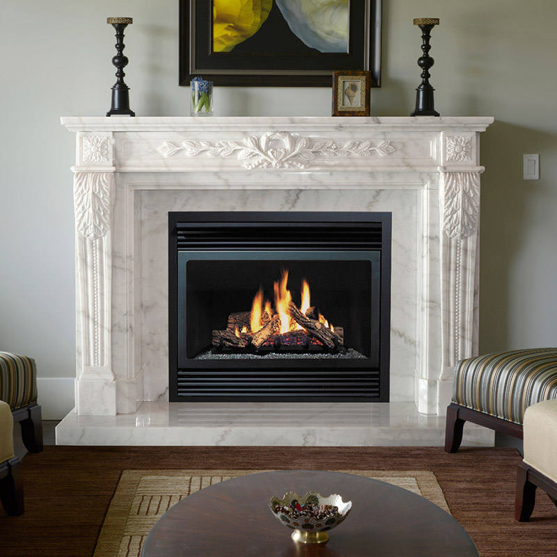 New Design Decorative white natural stone marble fireplace