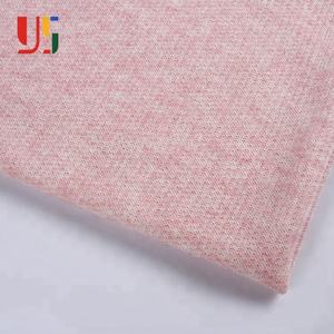 Non stretch yarn dyed weft pink cotton shirting french terry knit fabric for hoodie