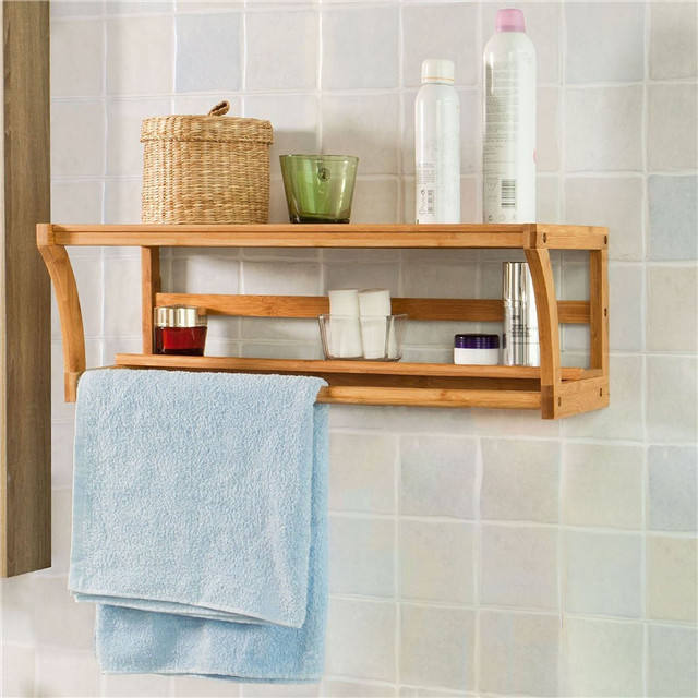 Bamboo Wall Mounted Wood Shelf Rack Towel Rail Holder Shelf Bathroom