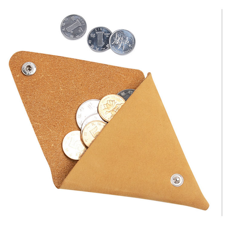 popular mini coin bag with key ring leather simple triangle coin wallet small coin purse with key chain